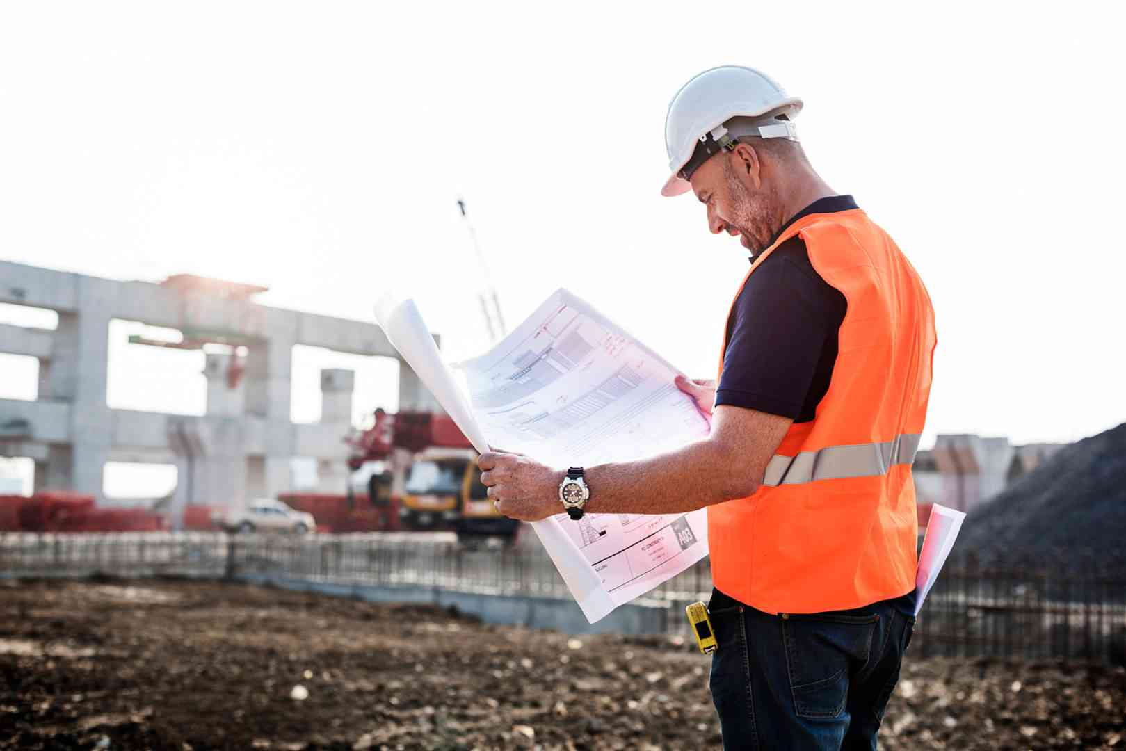 architect in a building construction site