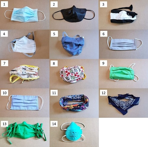 Face coverings used in test